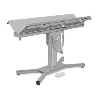 """OP-Tisch mit V-Tischplatte und """"X""""-Unterbau"""